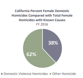 Thirty-eight percent of female homicides between July, 2015 and June, 2016 in California were the result of domestic violence.