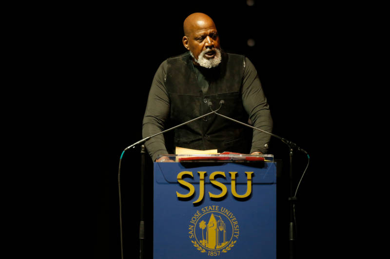 Dr. Harry Edwards, now Professor Emeritus at UC Berkeley, addresses a celebration at San Jose State University.
