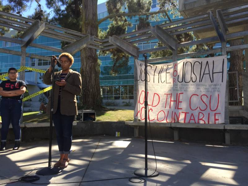 Akaelah Flotho speaks at a 'Justice for Josiah' rally at San Francisco State's Malcom X Plaza on Monday, Oct. 15, 2018.