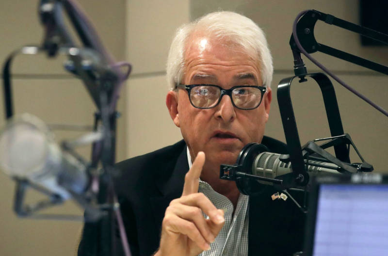 Gubernatorial candidate and GOP businessman John Cox speaks in KQED's San Francisco studios on Oct. 8, 2018.