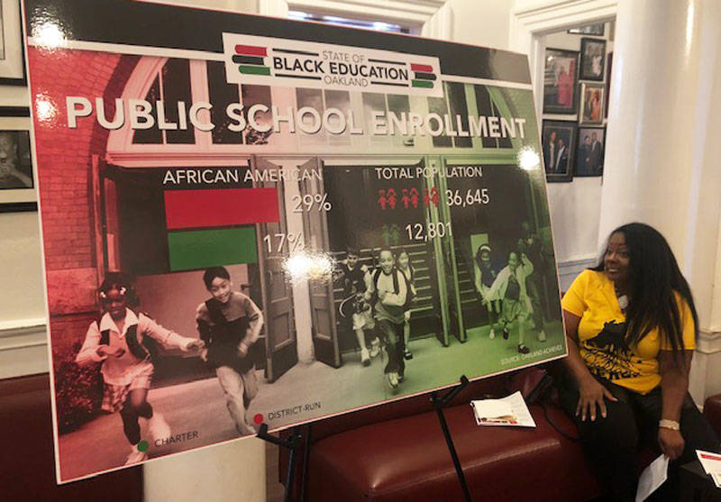 Oakland REACH member Keta Brown at the State of Black Education event.