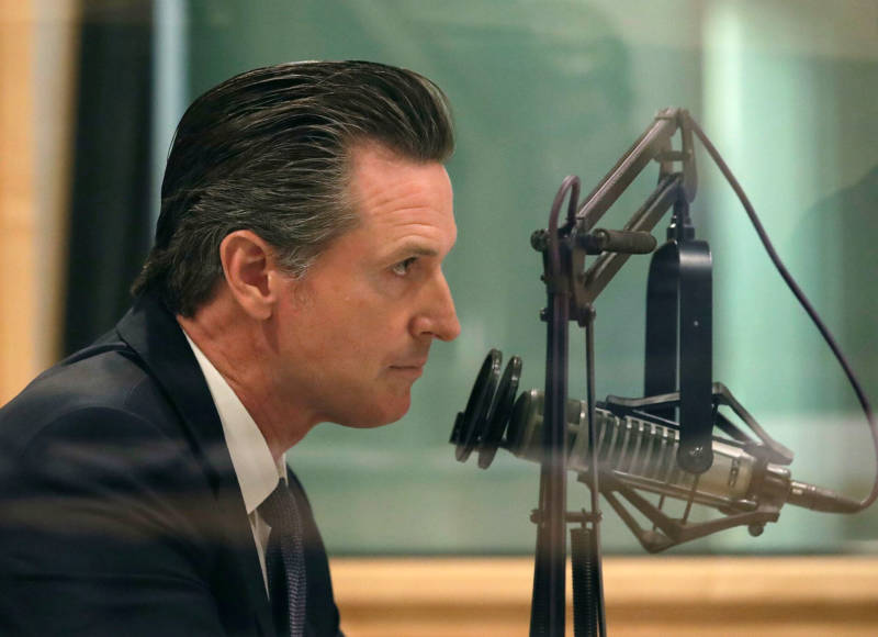 Gubernatorial candidate and Lt. Gov. Gavin Newsom speaks in KQED's San Francisco studios on Oct. 8, 2018.