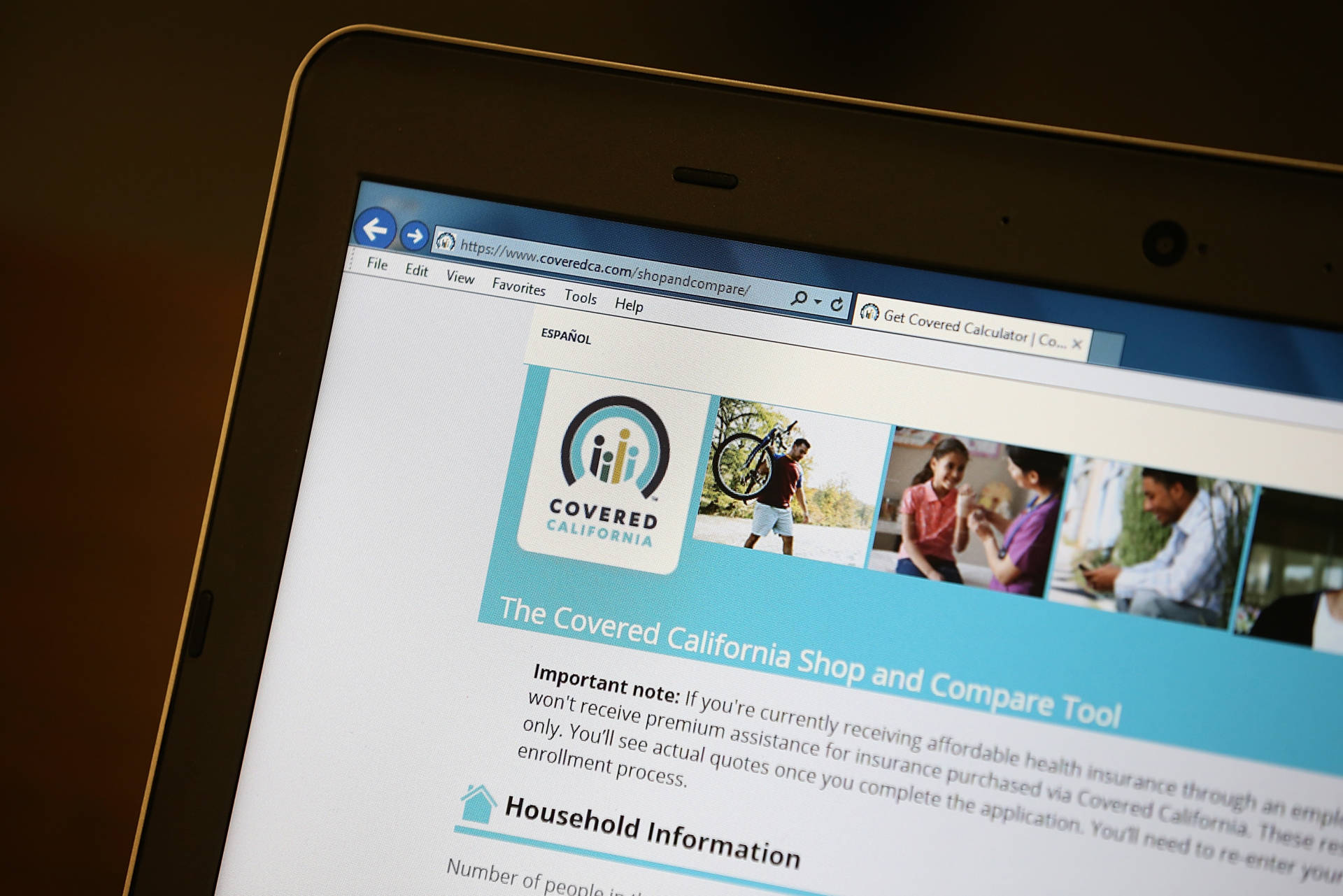 The Covered California website is displayed during a health care enrollment fair at the office of SEIU-United Healthcare Workers West on March 18, 2014 in San Francisco. Justin Sullivan/Getty Images