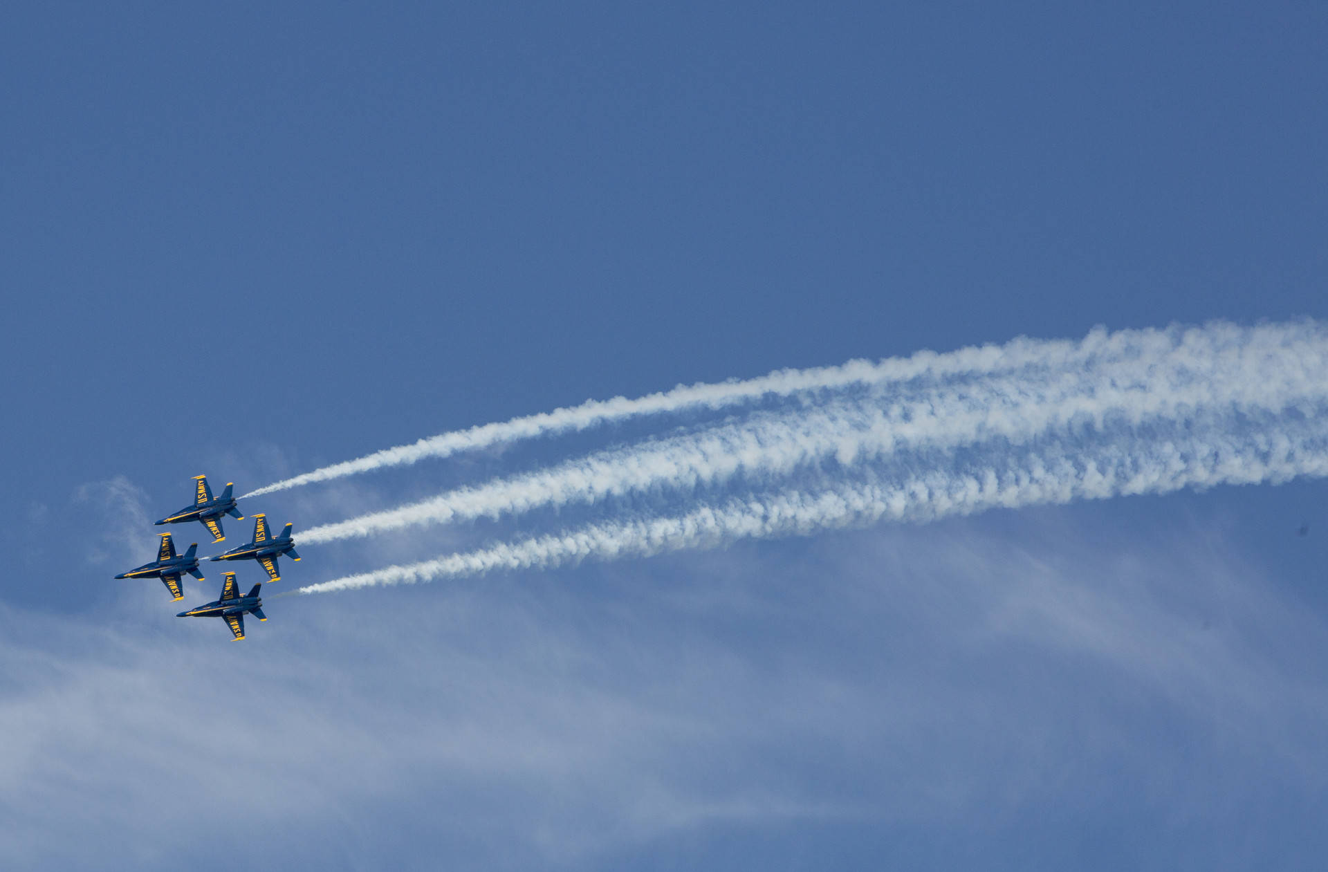 U.S. Navy Blue Angel jets fly over the San Francisco Bay. Blue Angels are the most popular event at the San Francisco Fleet Week air show. Anne Wernikoff/KQED
