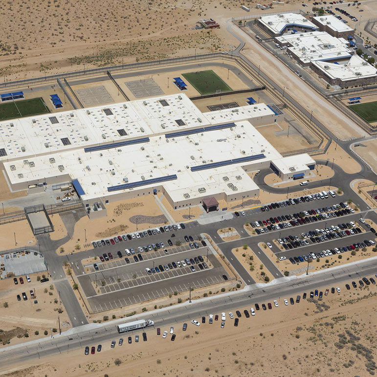 An aerial view of the Adelanto ICE Processing Center in Southern California. It is the state's largest immigrant detention facility.