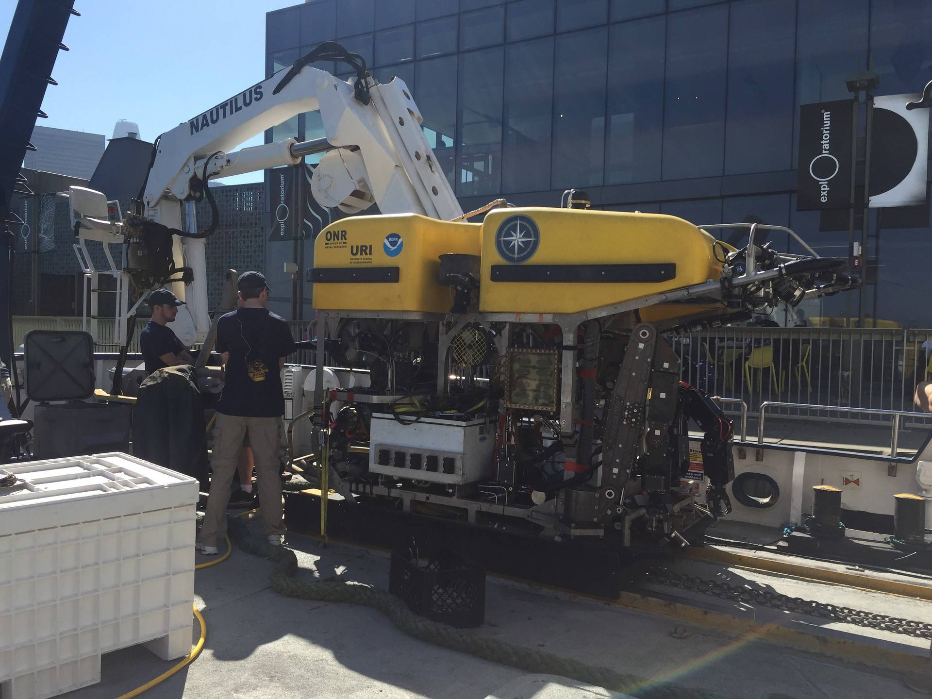 This robot will explore Davidson Seamount, an underwater mountain 12,000 feet below the surface and 80 miles southwest of Monterey. Sonja Hutson/KQED