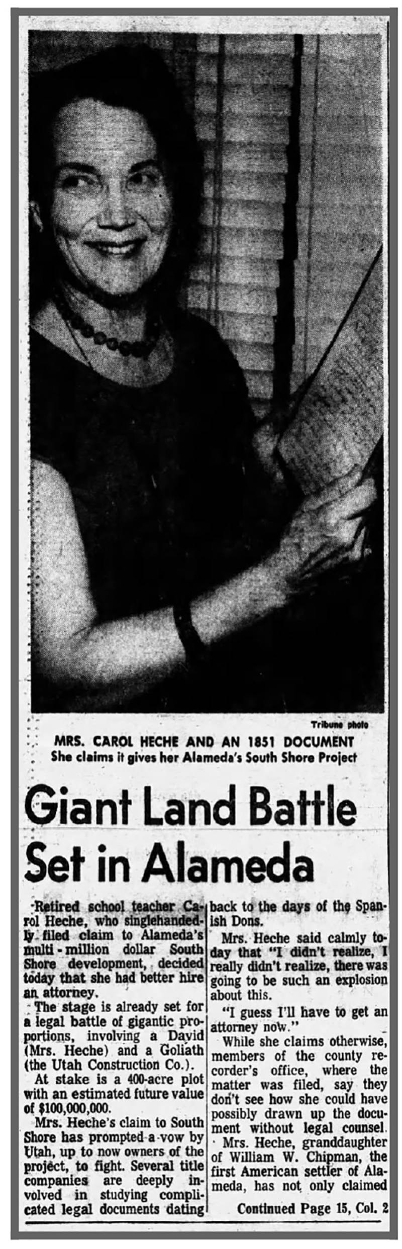 A newspaper clipping detailing one of Carol Heche's other legal battles borne out of her claim to submerged land off of Alameda Island.