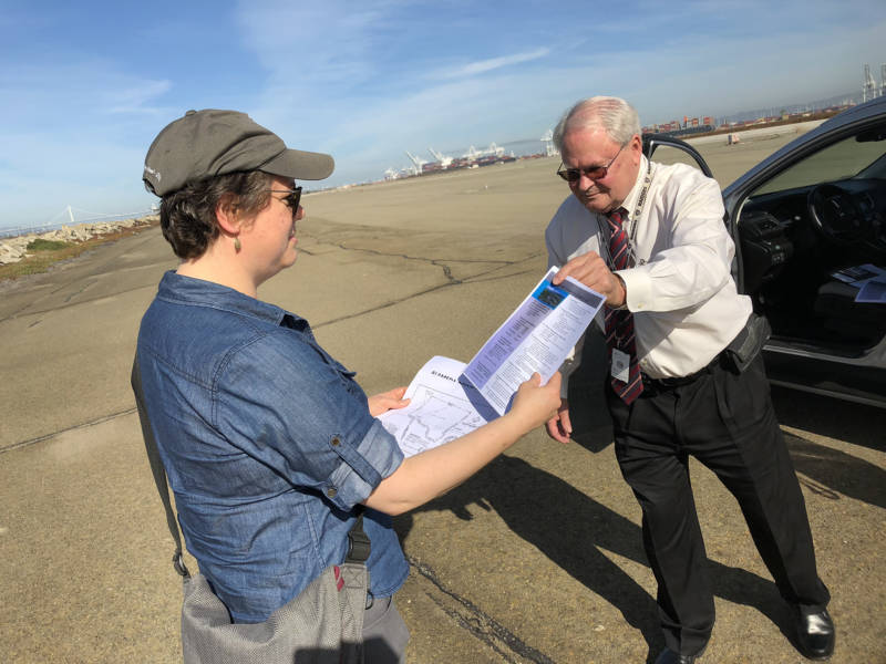 Bay Curious listener Lori Bodenhamer talks with Larry Janes of the Department of Veterans' Affairs about the piece of Alameda Island, now owned by the VA, that crosses over into San Francisco.