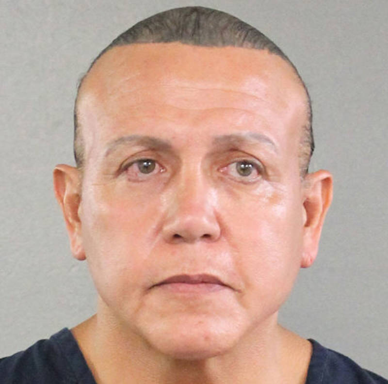 In an undated handout provided by the Broward County Sheriff's Office, Cesar Sayoc poses for a mugshot photo in Miami.