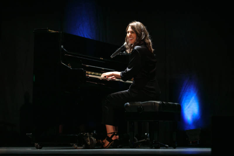 "Sara Bareilles at the piano during an event for ""Waitress"" presenter SHN."
