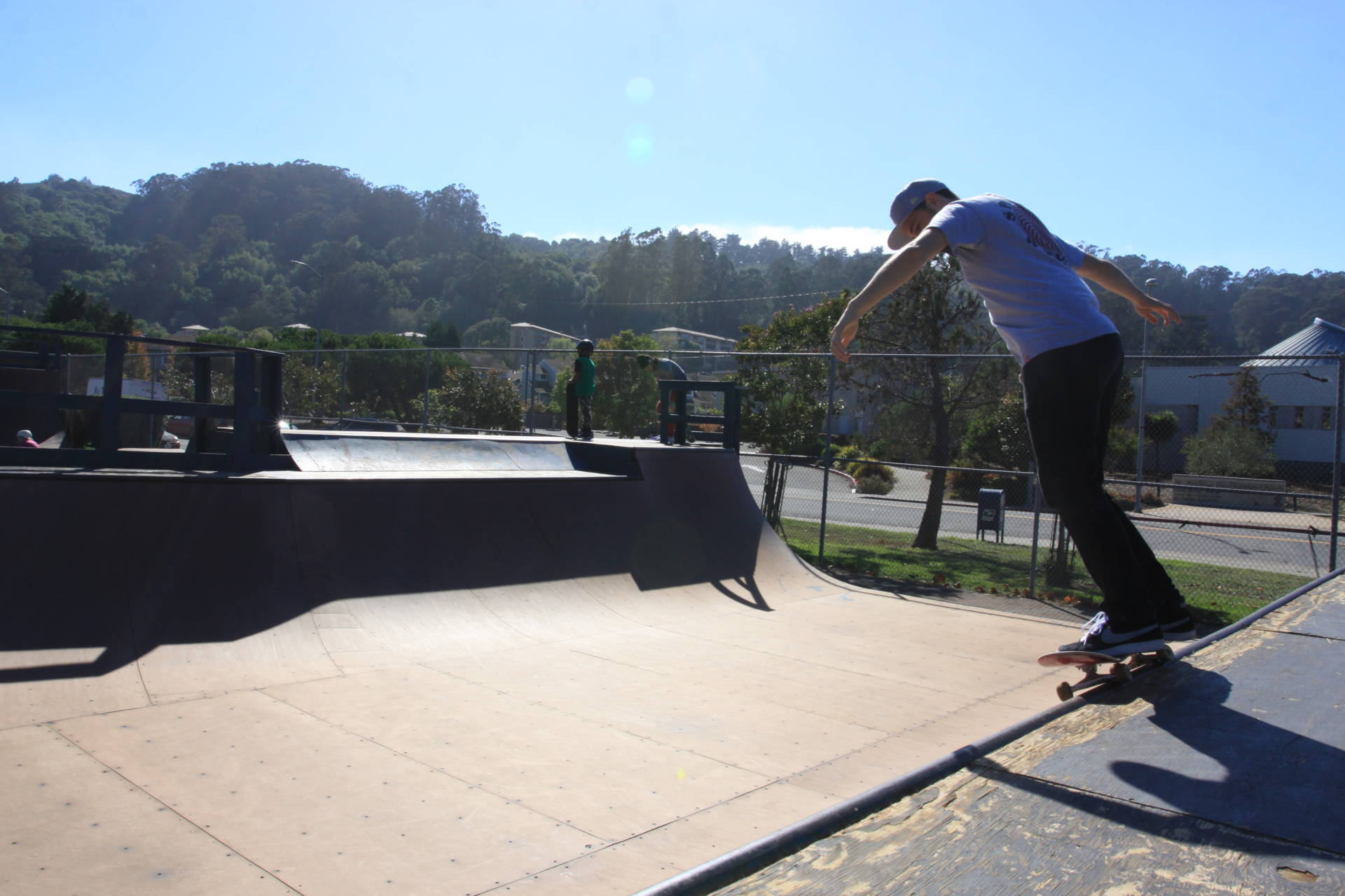 Kids and adults from Mill Valley, Marin City and other areas stopped by the newly reopened Marin City skate park on the corner of Drake and Donahue Streets in Marin City.  The park opened in 2014 but has been closed for two years after it lost funding and could not pay for liability insurance. A local skate shop came up with the initial insurance payment, and local organizers now have to fundraise to cover the rest.  Shia Levitt/KQED