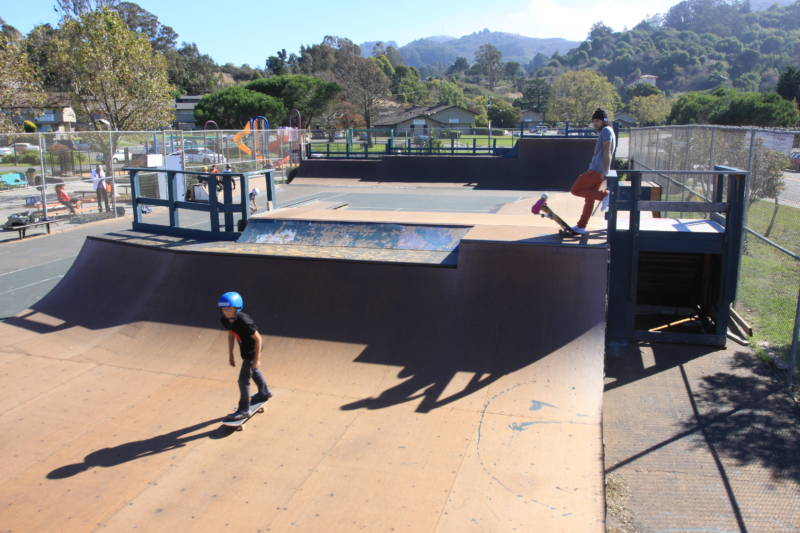 Kids and adults from Marin tried out the wooden ramps at the newly reopened skate park in Marin City this weekend.