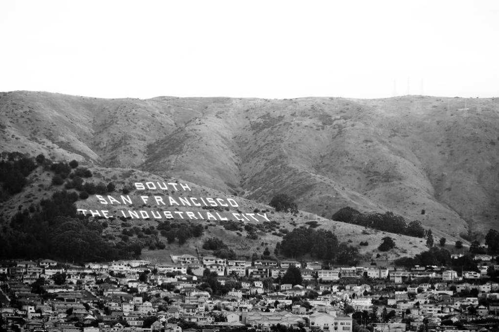In 1977 the Suicide Club cut up refrigerator boxes and slid down the letters above South San Francisco.