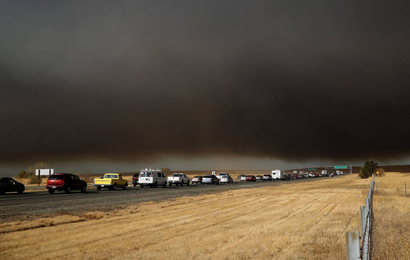 Traffic backs up on Highway 70 as people evacuate from the Camp Fire on Nov. 8, 2018, near Paradise.