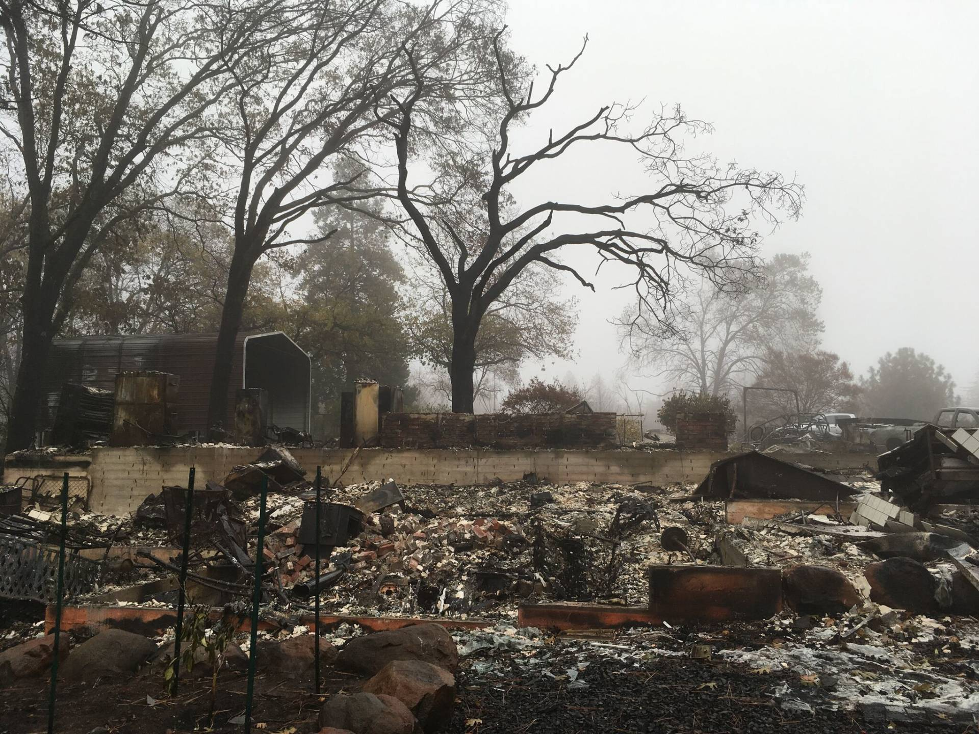 What's left of David Herrmann and Dayna Silveira's home in Paradise. KQED/Rachel Myrow