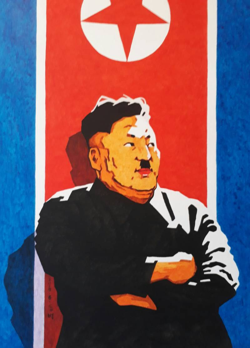 Kim Jong-un as Hitler in a painting by Song Byeok.
