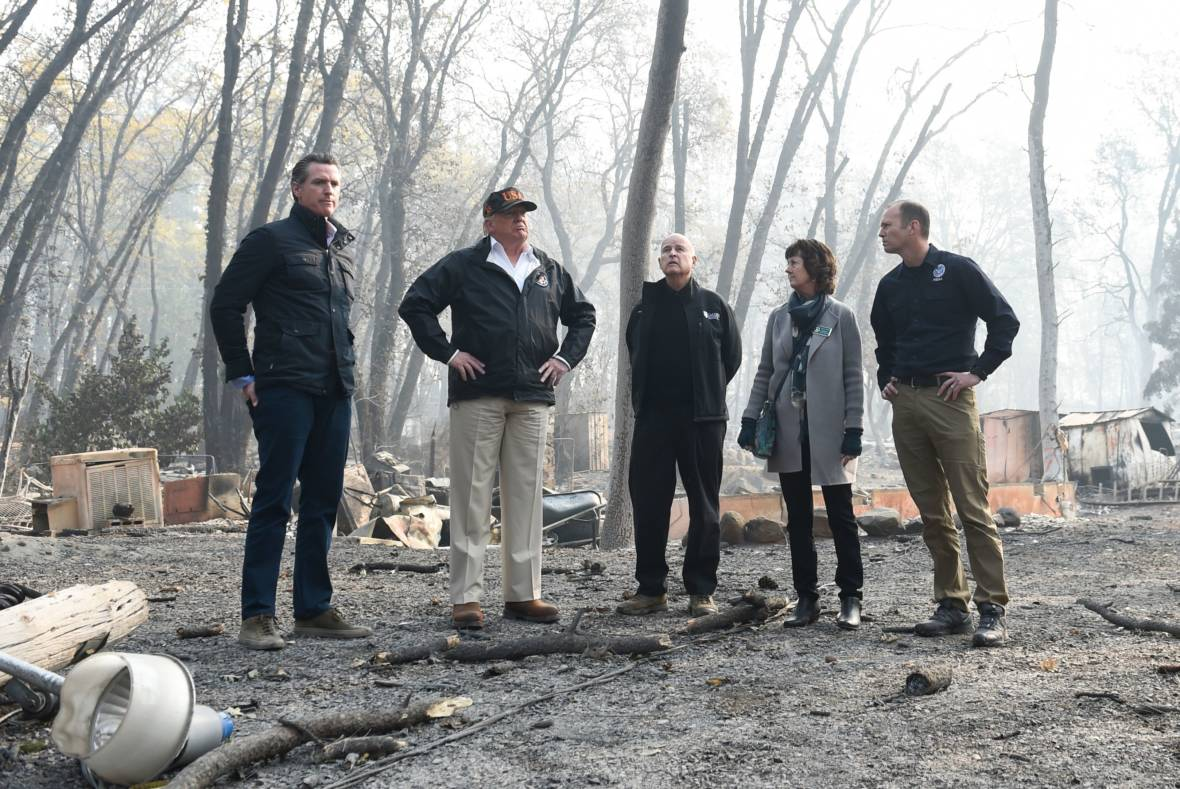 'The Federal Government Is Behind You': Trump Tours Camp Fire Devastation with Brown, Newsom