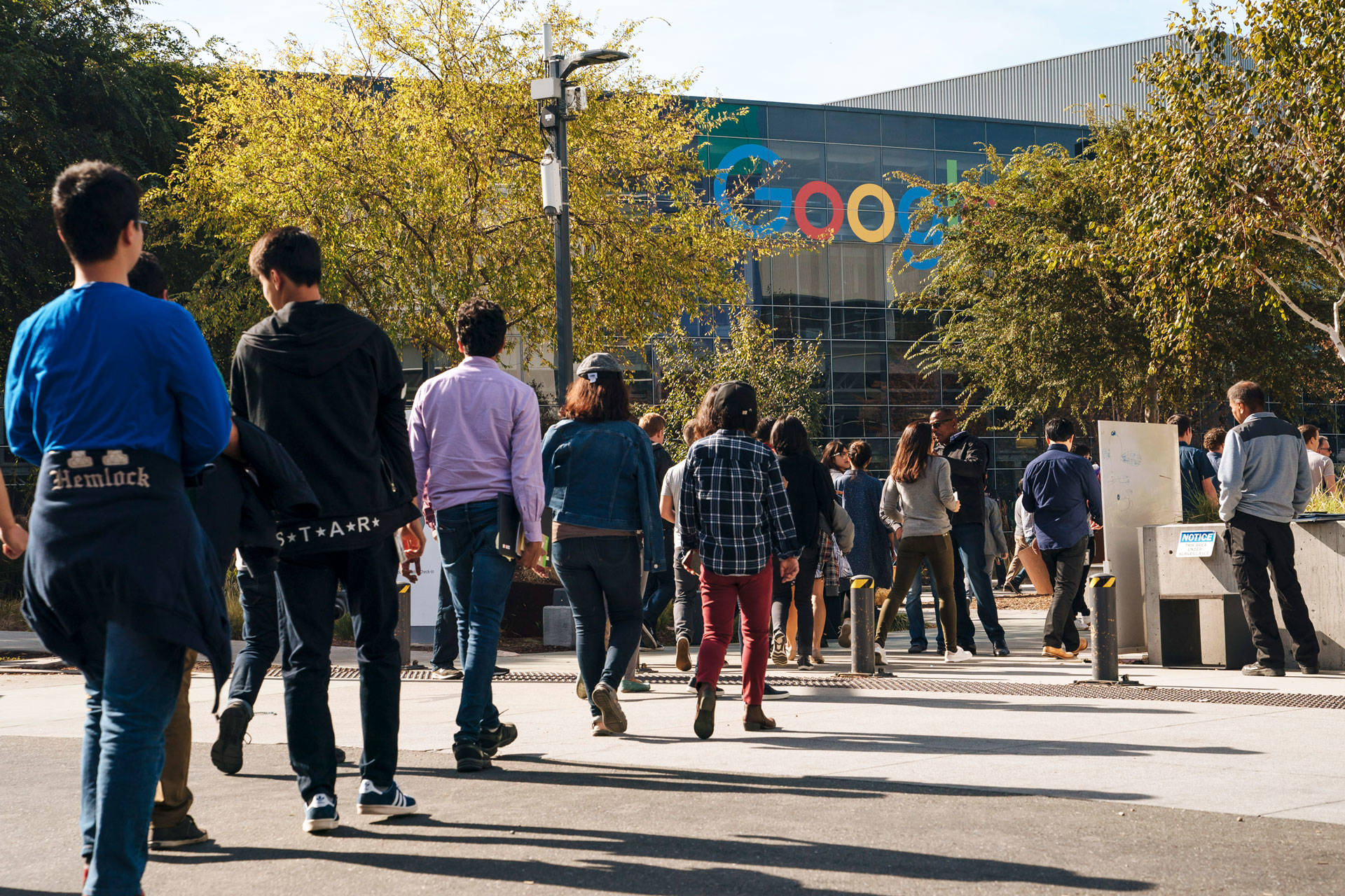 Google employees walk off the job to protest the company's handling of sexual misconduct claims, on Nov. 1, 2018, in Mountain View. Mason Trinca/Getty Images