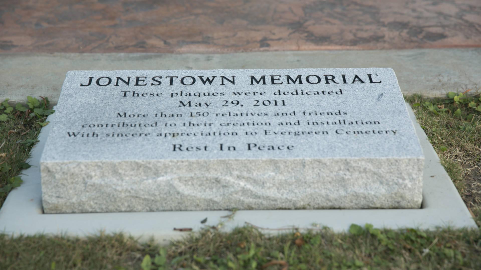 The Jonestown memorial at Evergreen Cemetery in Oakland.   J.P. Dobrin/KQED