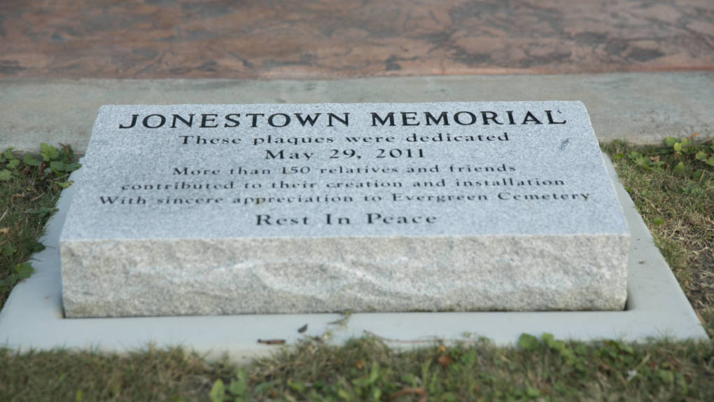 The Jonestown memorial at Evergreen Cemetery in Oakland.   J.P. Dobrin/KQED