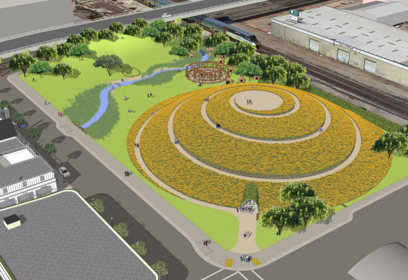A vision for what an open space at 1900 Fourth St in West Berkeley could look like. It would be a monument to Ohlone ancestors and the shellmound that once stood here.