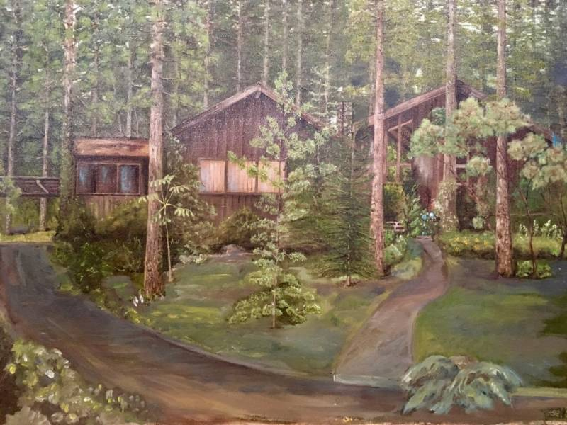 What the home and cabin used to look like from the outside, as interpreted by a family friend who paints.