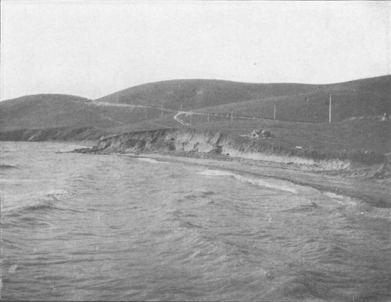 "A shellmound in San Rafael, as photographed by archaeologist Nels Nelson in 1909. From Nelson's report ""Shellmounds of the San Francisco Bay Region."""