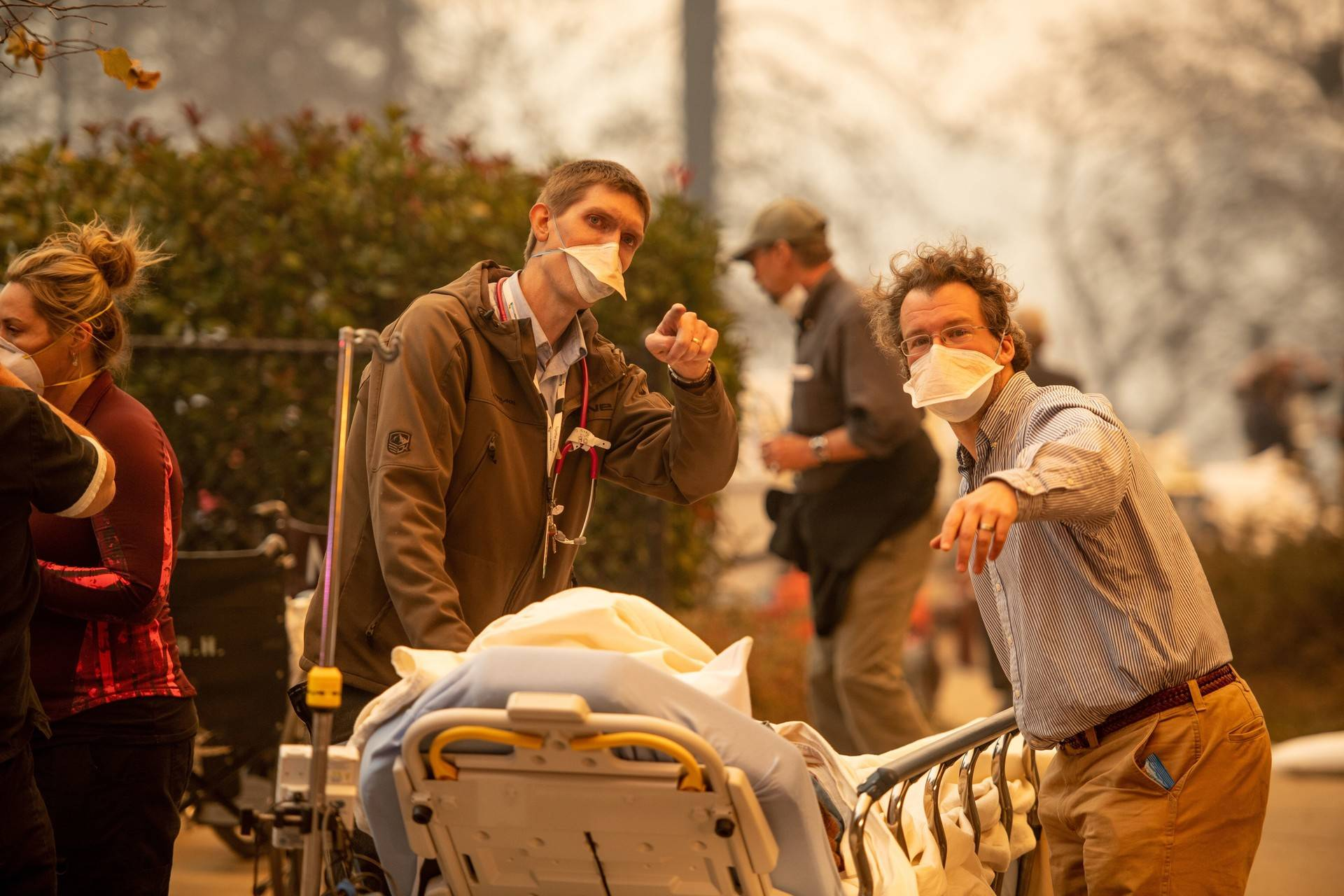 Patients were rushed from Feather River Hospital in Paradise as the Camp Fire reached the building on Thursday. Josh Edelson/AFP-Getty Images