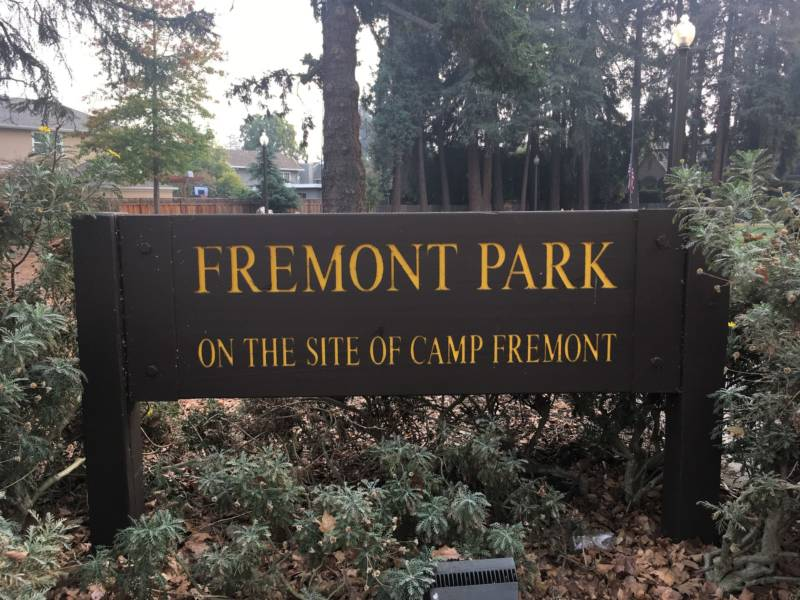 Little remains besides this pocket park in downtown Menlo Park to remind locals of Camp Fremont, where more than 28,000 U.S. Army soldiers were trained during WWI.