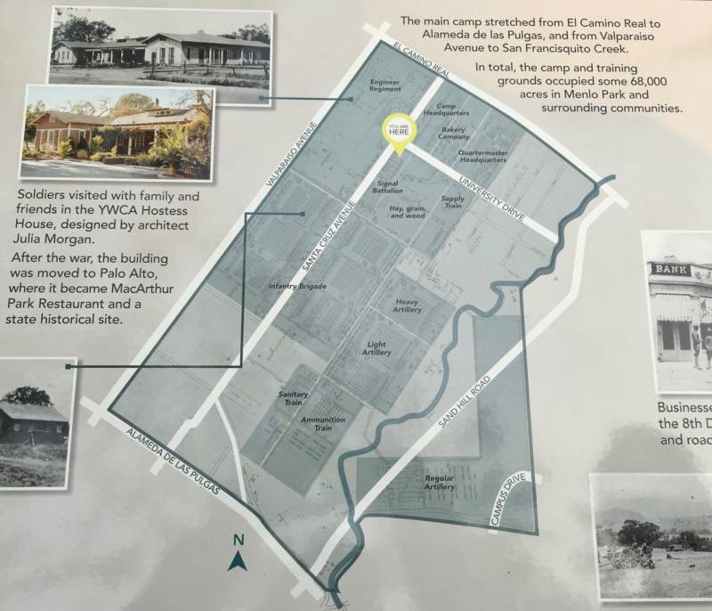 The Menlo Park Historical Association recently installed signage in Fremont Park to explain the history. This map details how the nucleus of the camp was laid out.