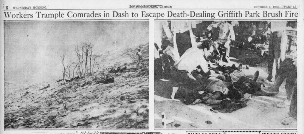 Page 6 of the Oct. 4, 1933, Los Angeles Times chronicles the deadly Griffith Park Fire that killed 29 people. Newspapers.com