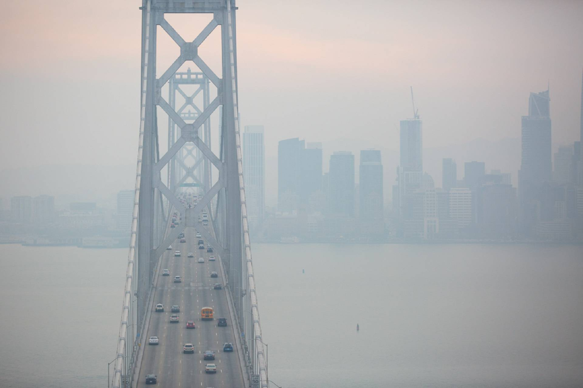 Smoke from the Camp Fire blankets the Bay Bridge and the city of San Francisco on Nov. 13, 2018. Samantha Shanahan/KQED