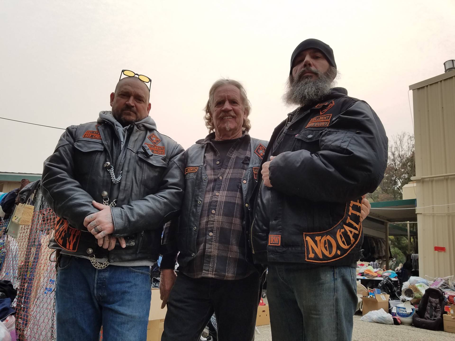 Members of the Hellbent Motorcycle Club 823 Chapter were handling security for a Camp Fire shelter at the East Avenue Church in Chico on Nov. 13. Alex Emslie/KQED