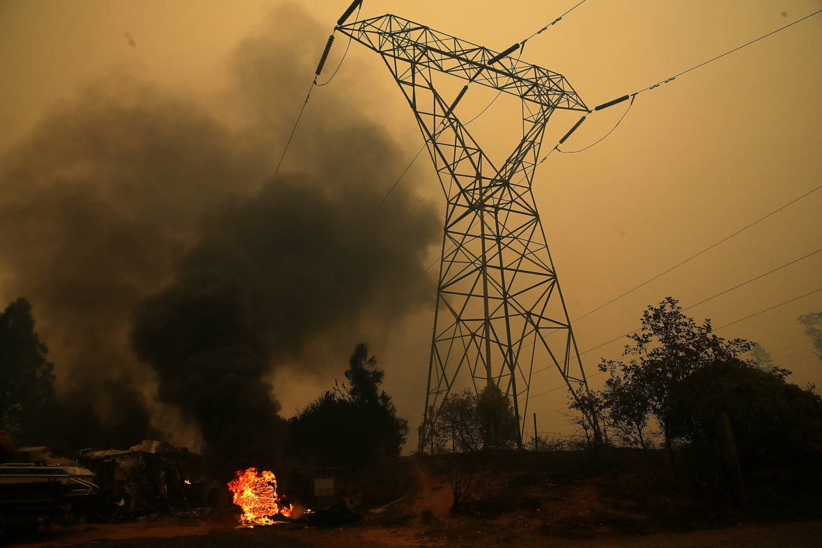 Power Line Near Potential Second Camp Fire Origin Would Have Been Part of PG&E's Shut-Off Program
