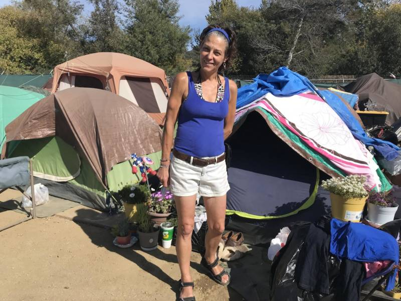 Dawnell Hunsaker, 47, has lived at the camp for about six months. She's unsure of what's ahead after the camp closes.