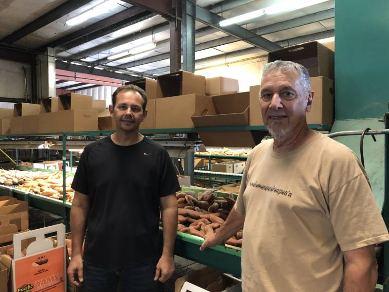 Aaron and Stan Silva at the packing plant for their family farm, Doreva Produce. Their family has been farming in Merced County for over 100 years.