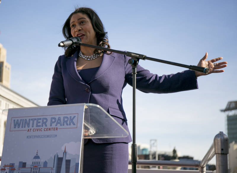 "Mayor London Breed gives opening remarks at the grand opening of Winter Park at Civic Center in front of City Hall on Nov. 30, 2018. Breed referred to the opening as part of a larger initiative by the city to make Civic Center a ""safe and inviting space"" for visitors and families in the surrounding neighborhoods."