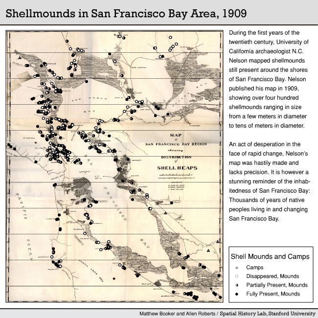 A map of shellmounds documented in 1909 by archaeologist Nels Nelson.