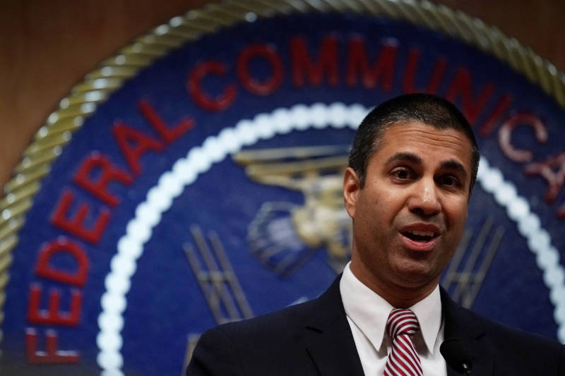 Federal Communications Commission Chairman Ajit Pai speaks to members of the media after a commission meeting December 14, 2017 in Washington, D.C.