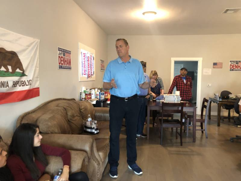 Congressman Jeff Denham, at a campaign office in Banta, California.
