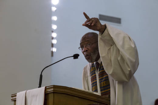 The Rev. Amos C. Brown gives a sermon at the Third Baptist Church, where he is the pastor, in San Francisco on Nov. 5, 2017.