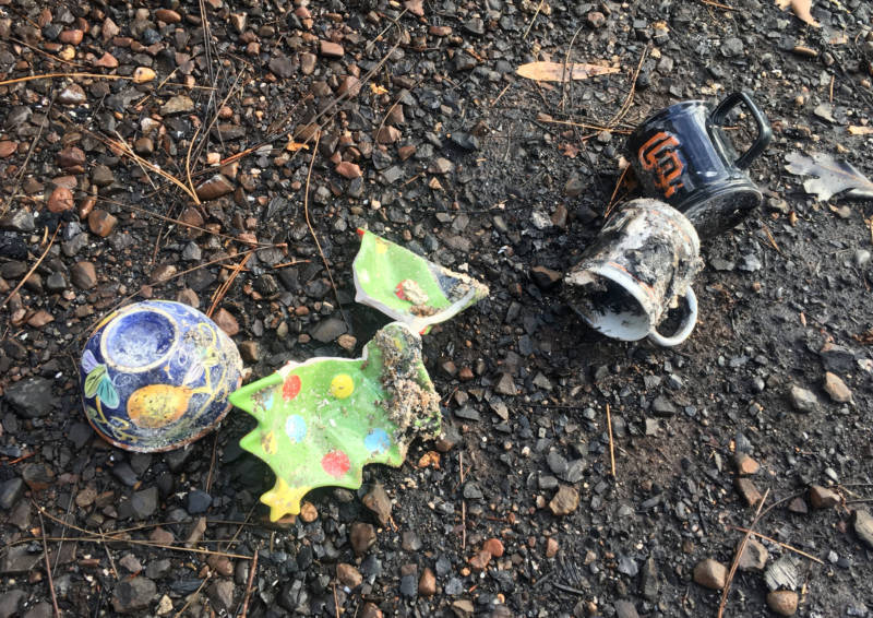 A few of the Clarks' Christmas ornaments, and Janet's SF Giants mug, were spared by the Camp Fire.