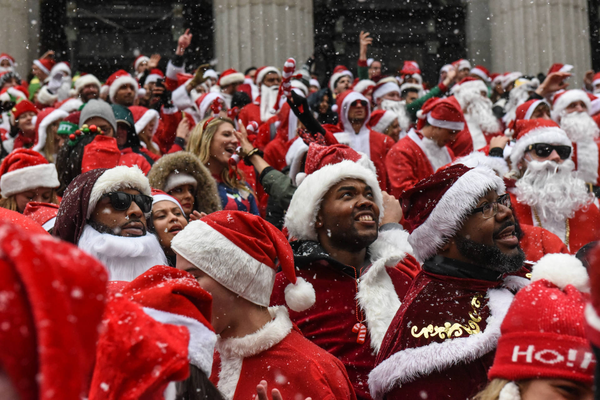 The annual bar crawl that is SantaCon is now celebrated in cities around the globe. But it got its start in San Francisco.  Stephanie Keith/Getty Images