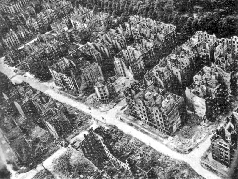 Burned-out buildings in Hamburg, Germany, following the 1943 allied bombing and resulting firestorm.