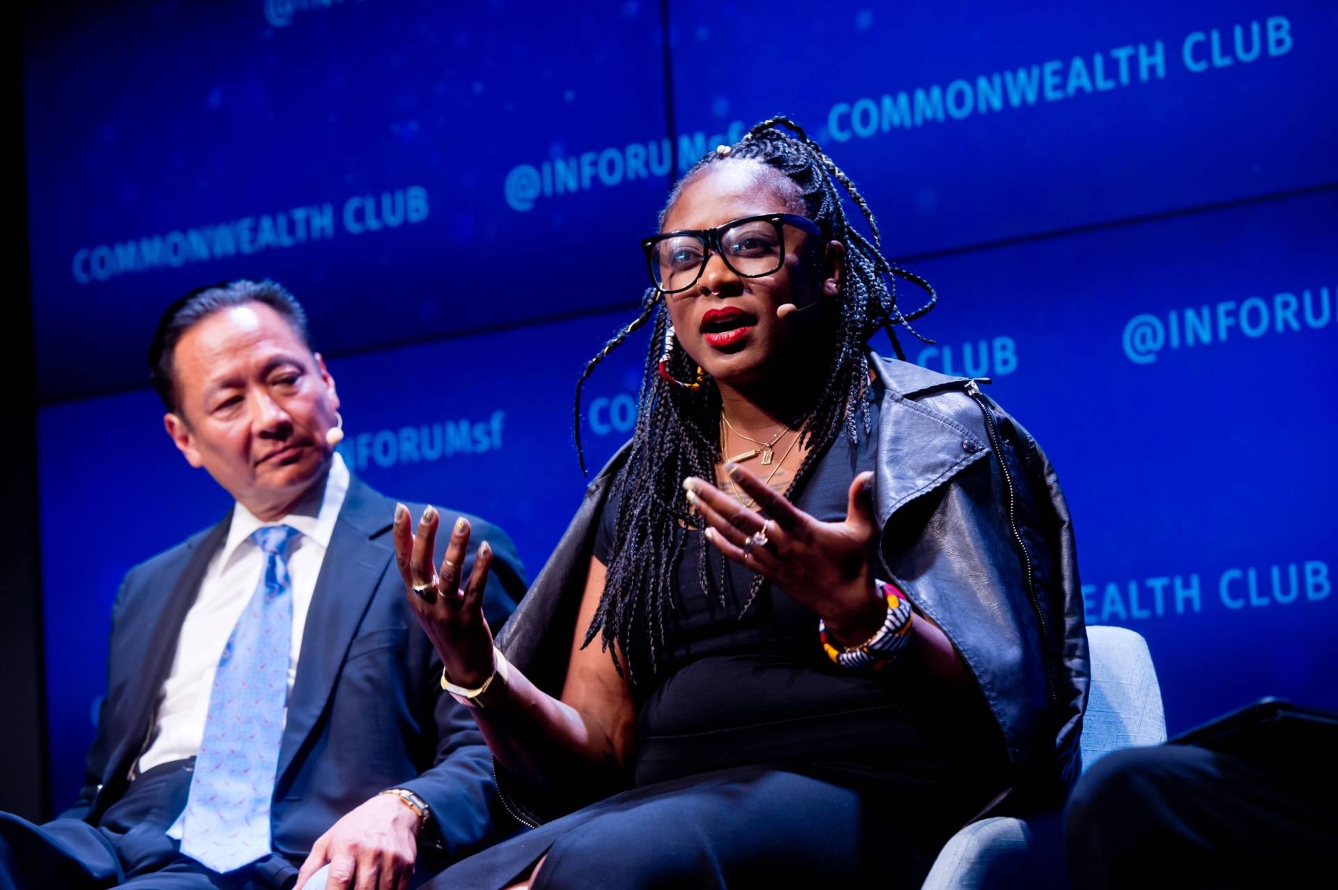 Alicia Garza (R) and Jeff Adachi (L) discuss the intersection of policy and racism at the Commonwealth Club on June 4, 2018. Alain McLaughlin/Alain McLaughlin Photography Inc