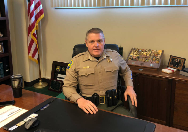 Butte County Sheriff Kory Honea at his desk.