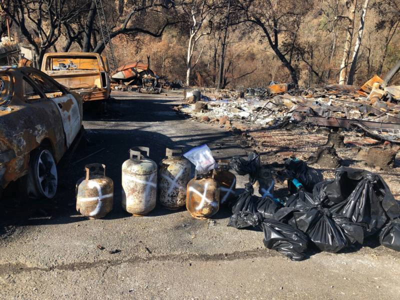 Some of the hazardous waste removed from this mobile home park includes propane tanks and batteries.