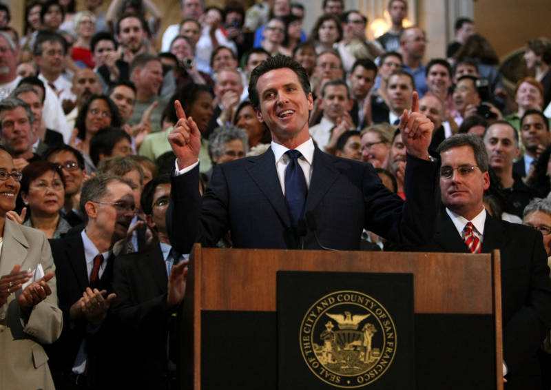 Gavin Newsom, then mayor of San Francisco, speaks during a news conference following a California Supreme Court decision to overturn the ban on same-sex marriage on May 15, 2008.