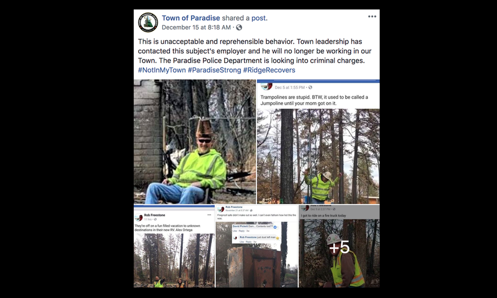 Cleanup Contractor Dismissed After Workers Post 'Reprehensible' Photos of Fire Damage in Paradise