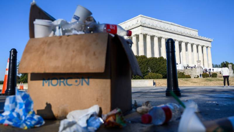 Trash in a box overflows near the Lincoln Memorial in Washington, D.C., on December 27, 2018, as some government services have been stopped during a partial government shutdown.